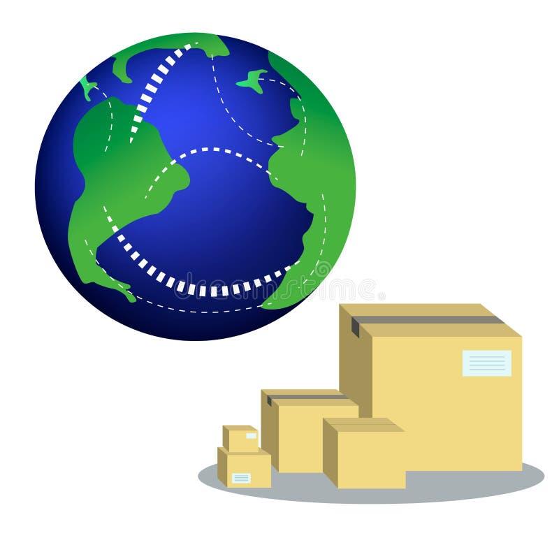 全球性后勤学,商业和全世界交付企业概念 行星和纸板箱 库存例证