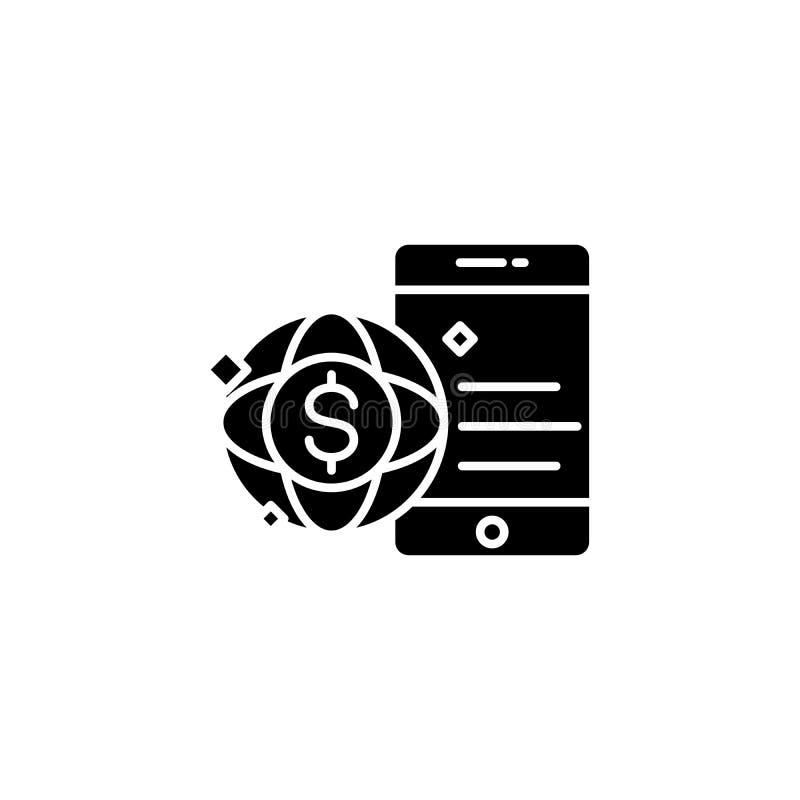全球性商务黑色象概念 全球性商务平的传染媒介标志,标志,例证 皇族释放例证