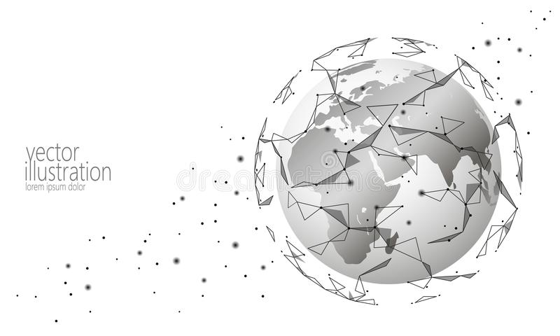 全球性国际连接信息交换blockchain cryptocurrency 行星空间低多未来技术 库存例证