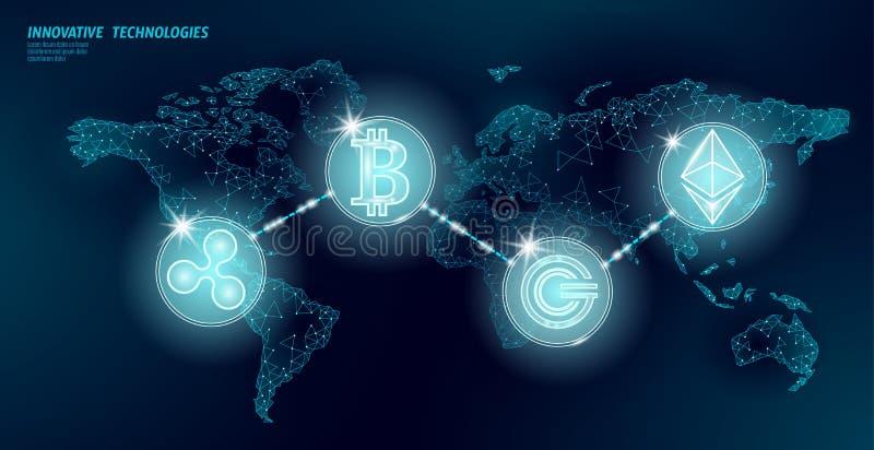全球性国际blockchain cryptocurrency 开户设计的世界地图低多现代未来财务 多角形 皇族释放例证