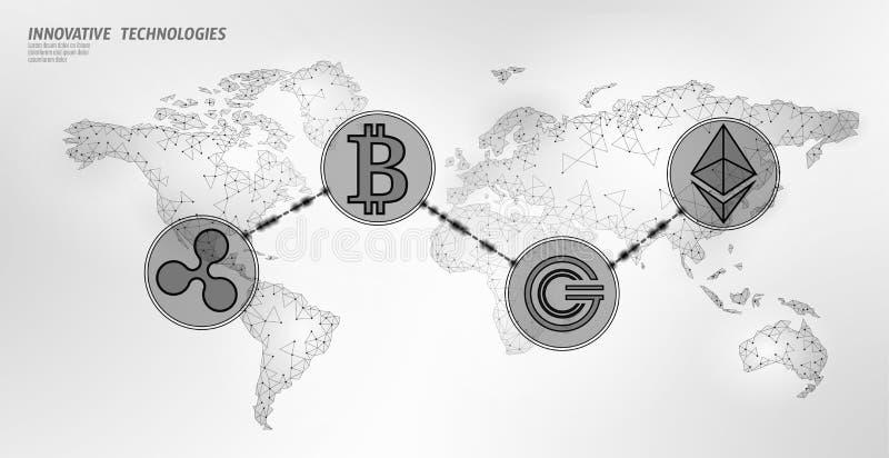 全球性国际blockchain cryptocurrency 开户设计的世界地图低多现代未来财务 多角形 向量例证