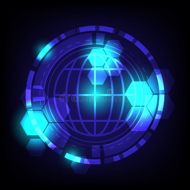 全球性技术数字抽象backround 库存例证
