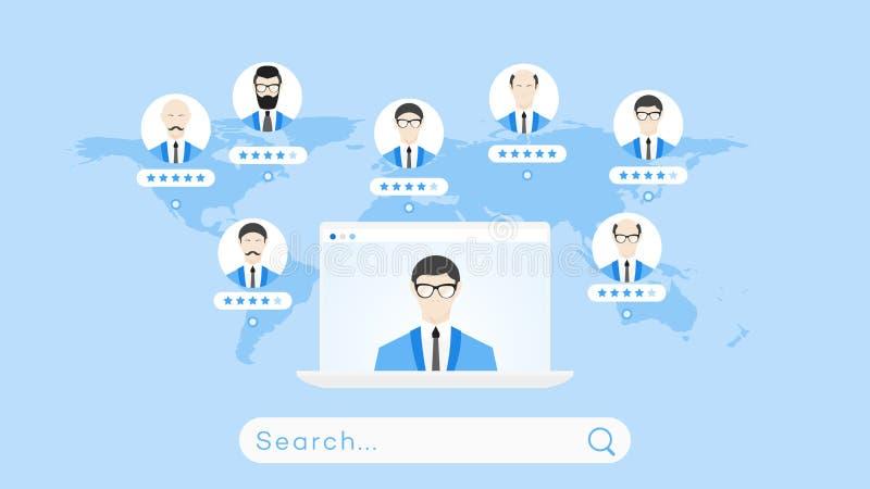 全球性搜寻在Worldmap 网上教育或职员补充的概念性平的传染媒介例证 库存例证