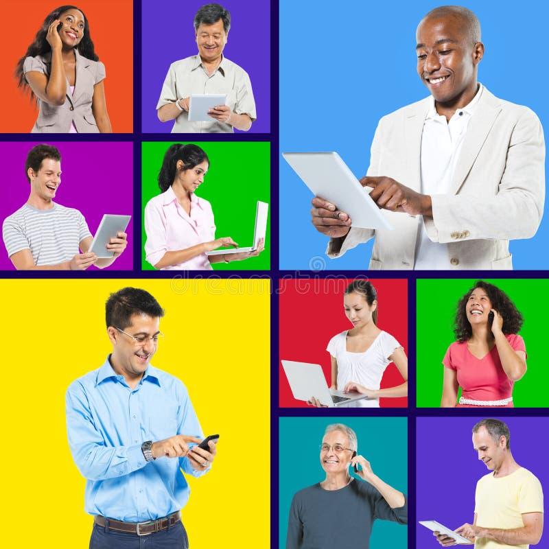 全球性数字式连接和混合的族种人 免版税库存图片