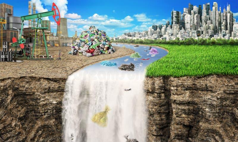全球性污染的概念 河运载从工业城市的垃圾 库存图片
