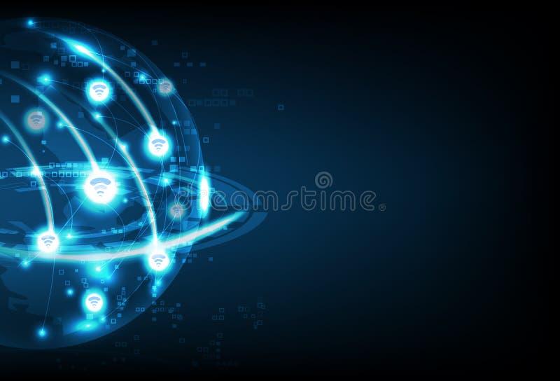 全球性的Wifi,企业技术,通讯网络连接,行星发光的未来抽象背景传染媒介例证 库存例证