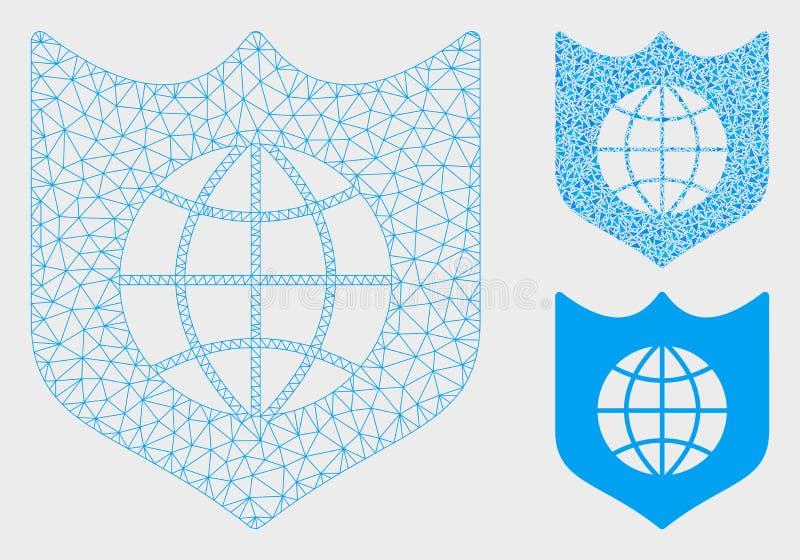 全球性盾传染媒介滤网尸体模型和三角马赛克象 皇族释放例证
