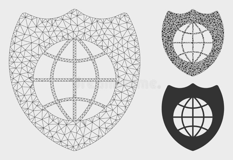 全球性盾传染媒介网状网络模型和三角马赛克象 皇族释放例证