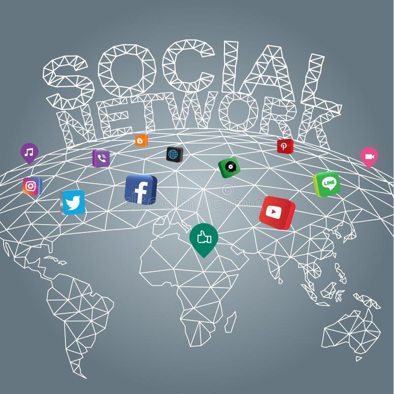 全球性社会的网络连接,流动应用 向量例证