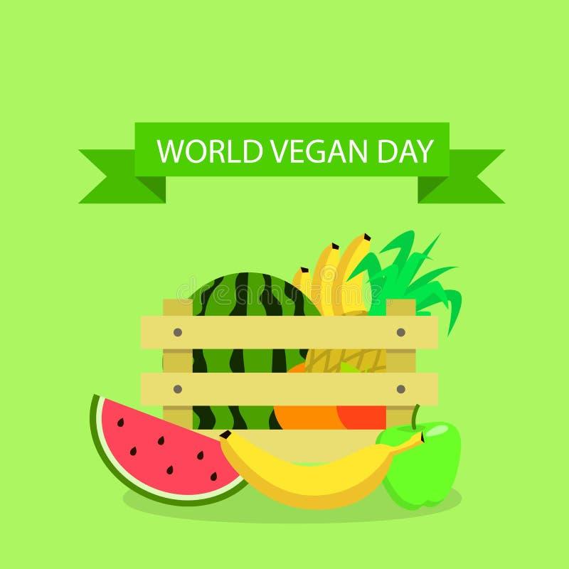 全球性素食主义者天概念背景,平的样式 库存例证