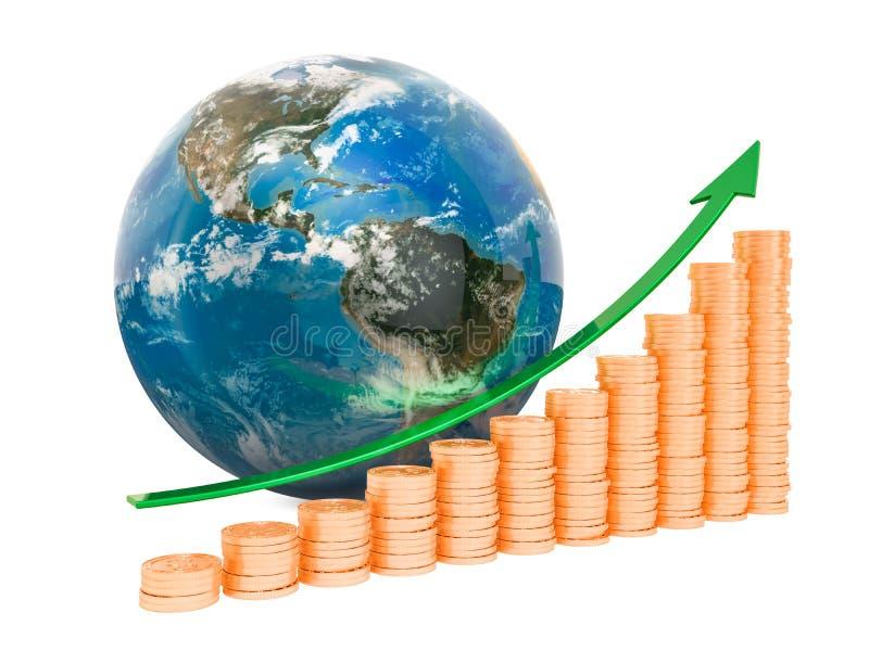 全球性经济增长概念,3D翻译 向量例证