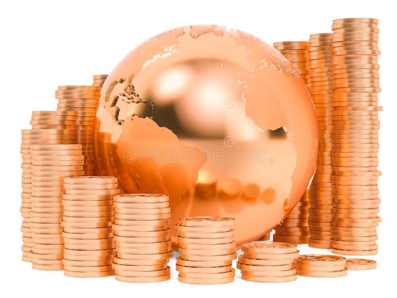 全球性经济增长概念 与金币的地球地球 3d?? 向量例证
