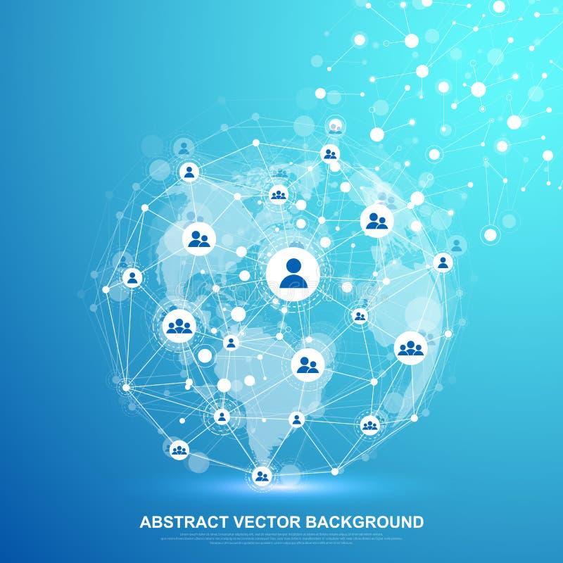 全球性结构网络和数据连接概念 在全球性计算机网络的社会网络通信 向量例证