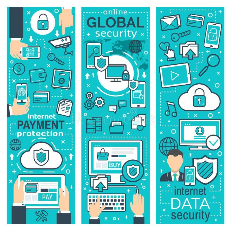 全球性网上安全传染媒介横幅  向量例证