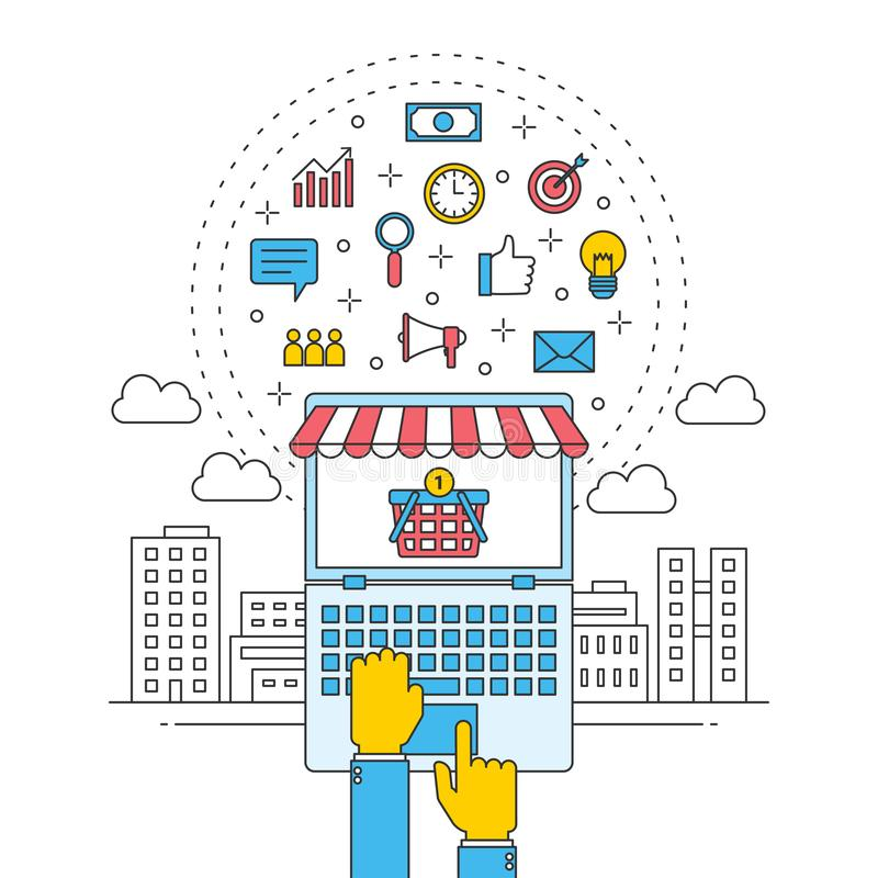 全球性网络商店事务 互联网商业购物在城市 酒店预订旅行 皇族释放例证