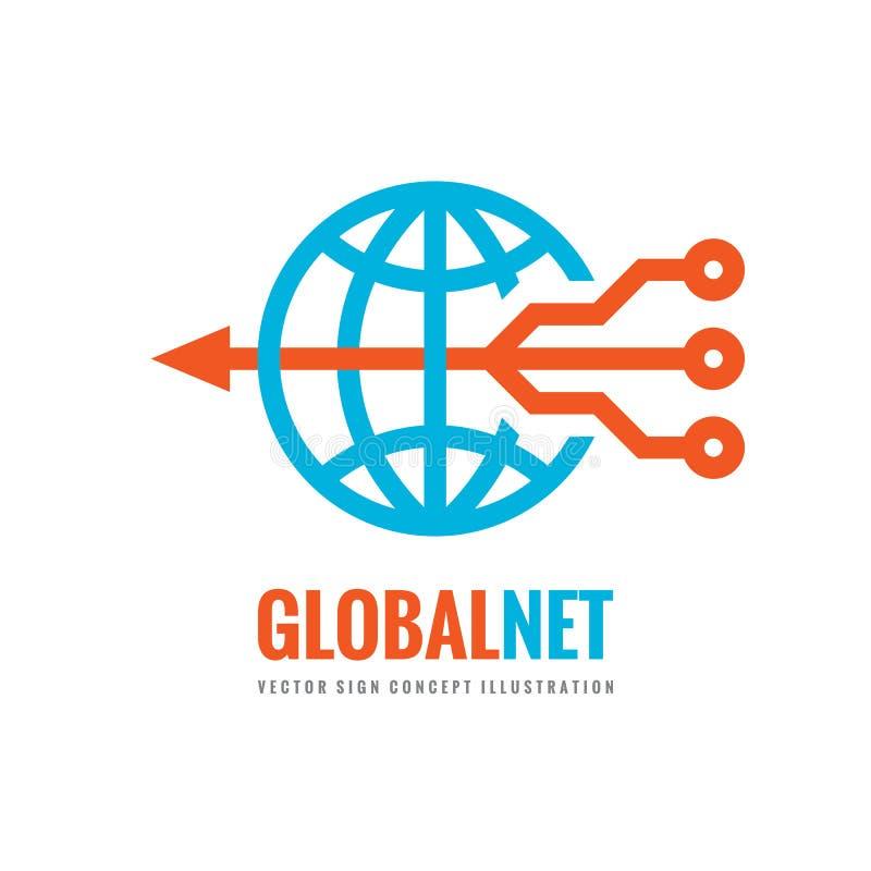 全球性网-数字式世界-导航企业商标模板概念例证 地球抽象标志和电子网络 向量例证