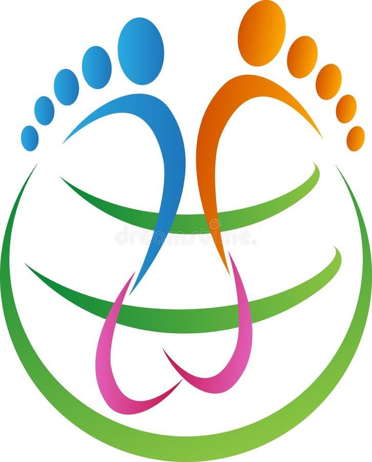全球性脚印刷品 库存例证