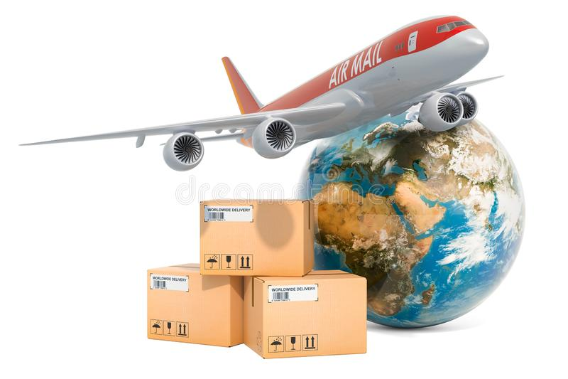 全球性航空运货概念 与飞机和地球地球,3D的小包翻译 库存例证