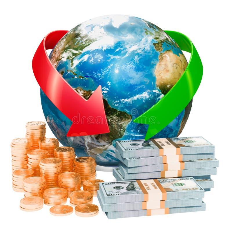 全球性财政和银行业务概念, 3D翻译 皇族释放例证