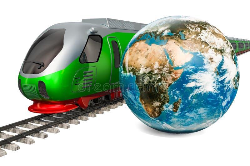 全球性路轨旅行概念 有地球地球的,3D高速火车翻译 皇族释放例证