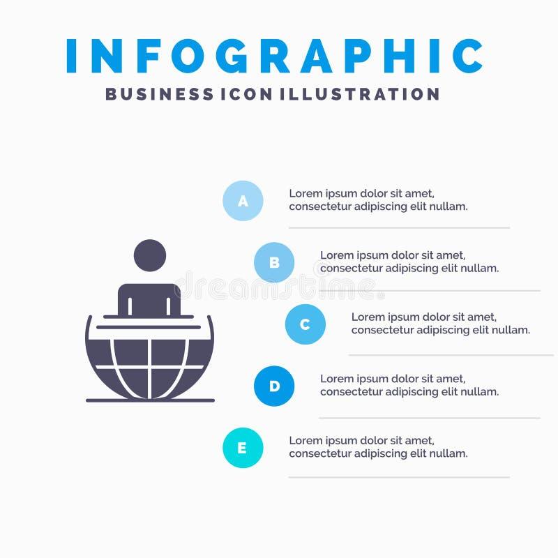 全球性过程,事务,国际,现代坚实象Infographics 5步介绍背景 皇族释放例证