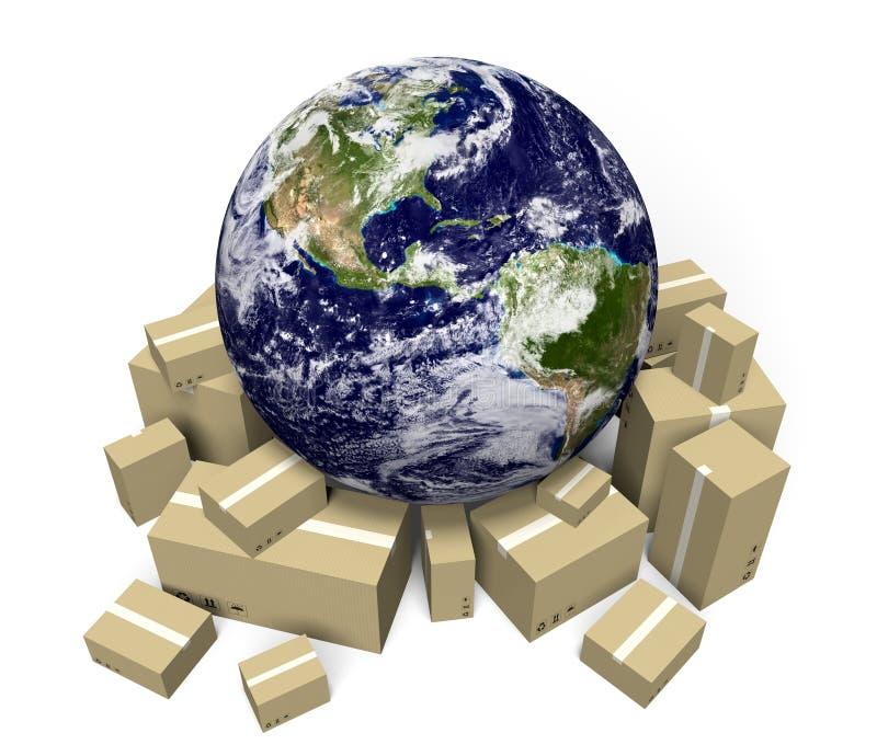 全球性运输和交付递送急件服务,美国航空航天局装备的这个图象的部分 库存例证