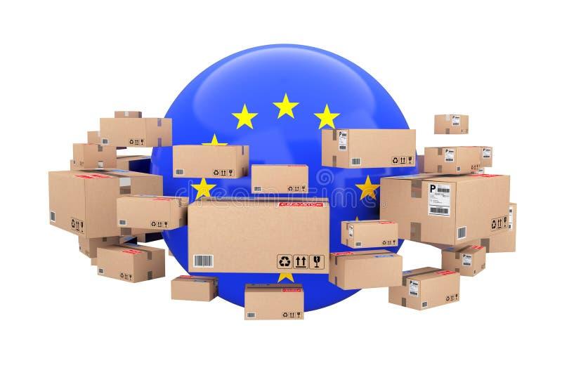 全球性运输和后勤指导方针 与欧盟的球形 皇族释放例证