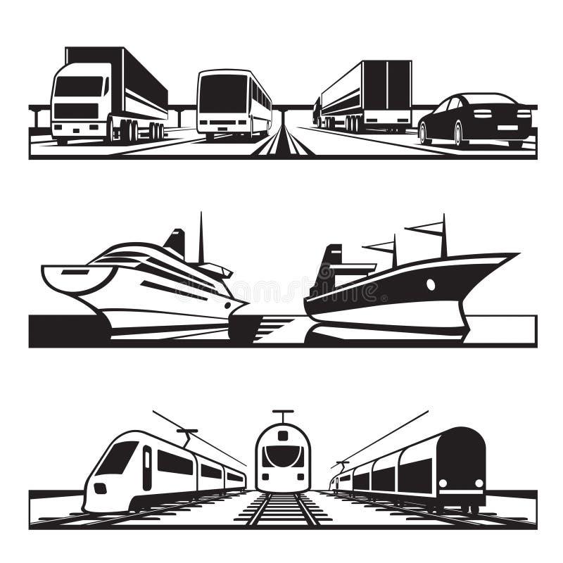 全球性运输集合 向量例证