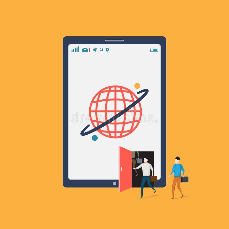 全球性通信企业片剂概念传染媒介,流动互联网技术电信 向量例证