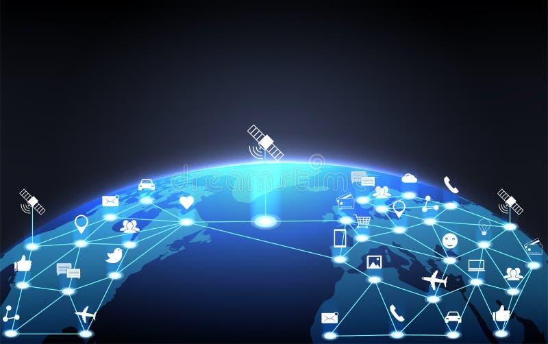 全球性通信在行星地球附近的云彩网络 概念 向量例证