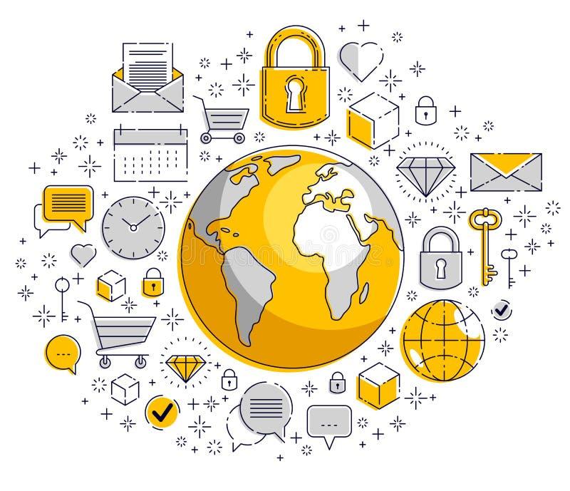全球性通信概念,与另外象集合,大数据,互联网活动,全球网络连接的行星地球, 向量例证