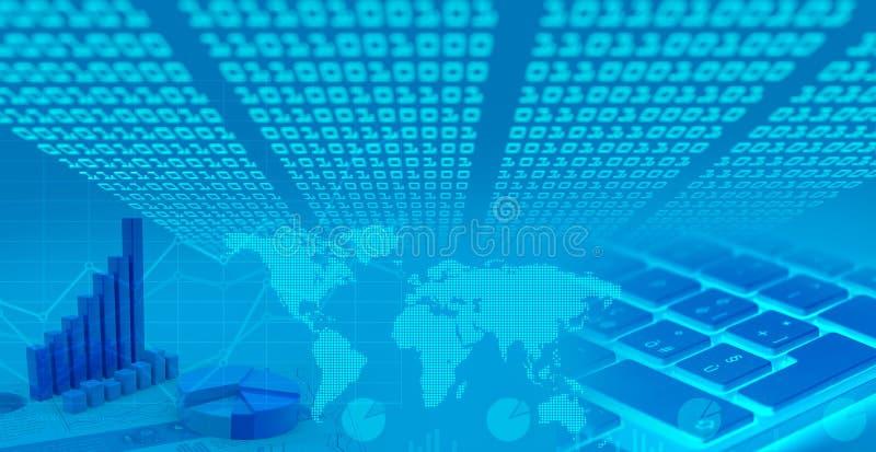 全球性金融市场图,二进制编码 图库摄影