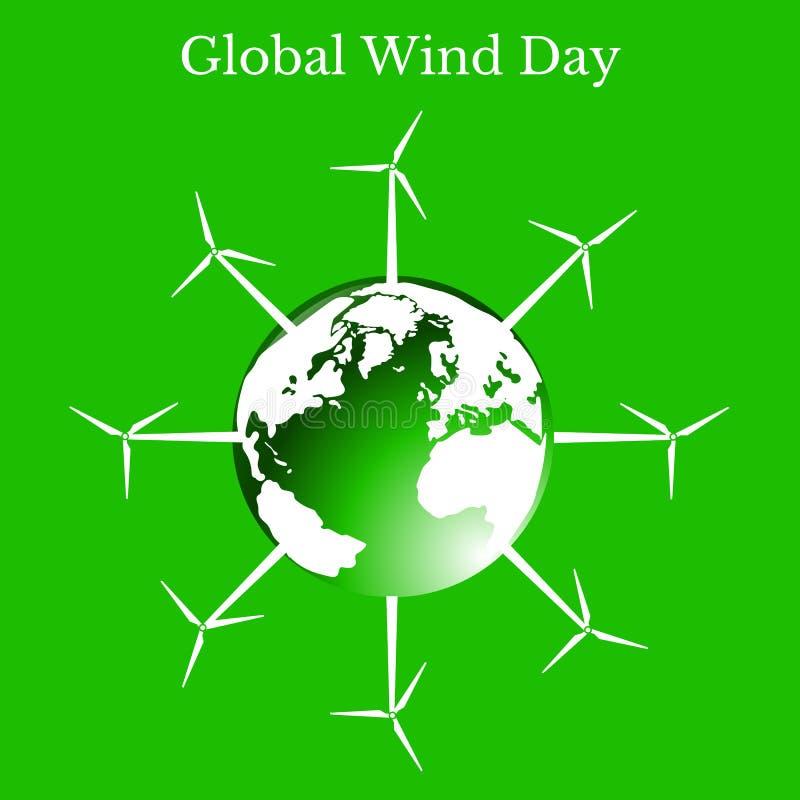 全球性风天 地球行星涡轮风 绿色背景 向量例证
