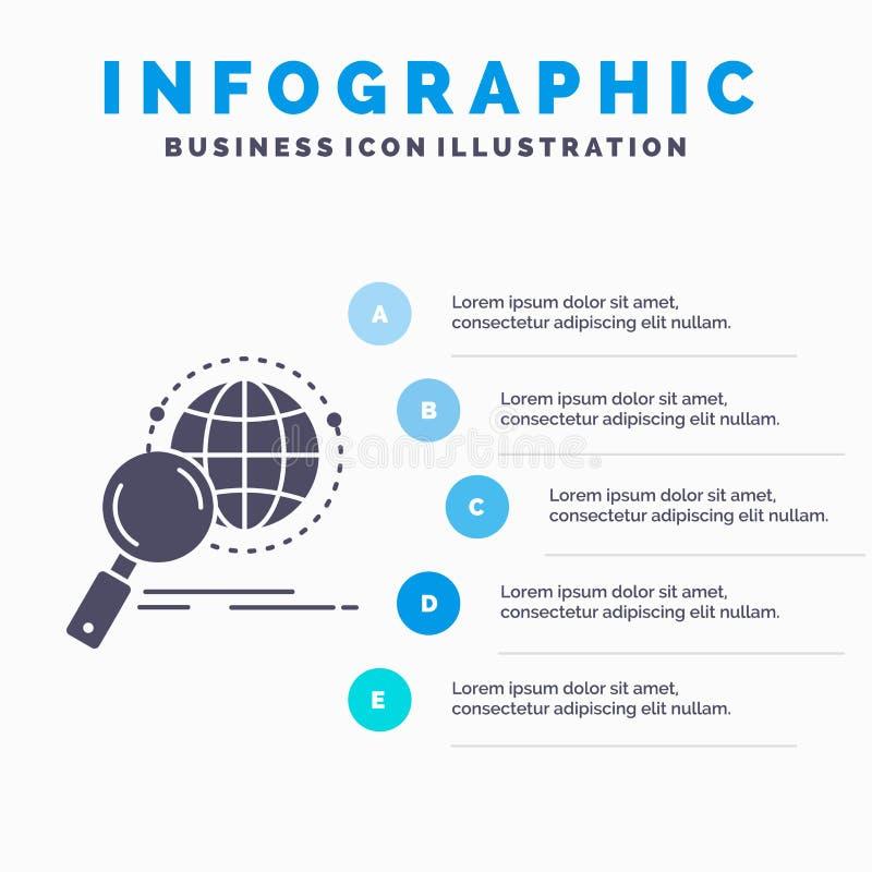 全球性,地球、放大器、研究、世界Infographics模板网站的和介绍 r 库存例证