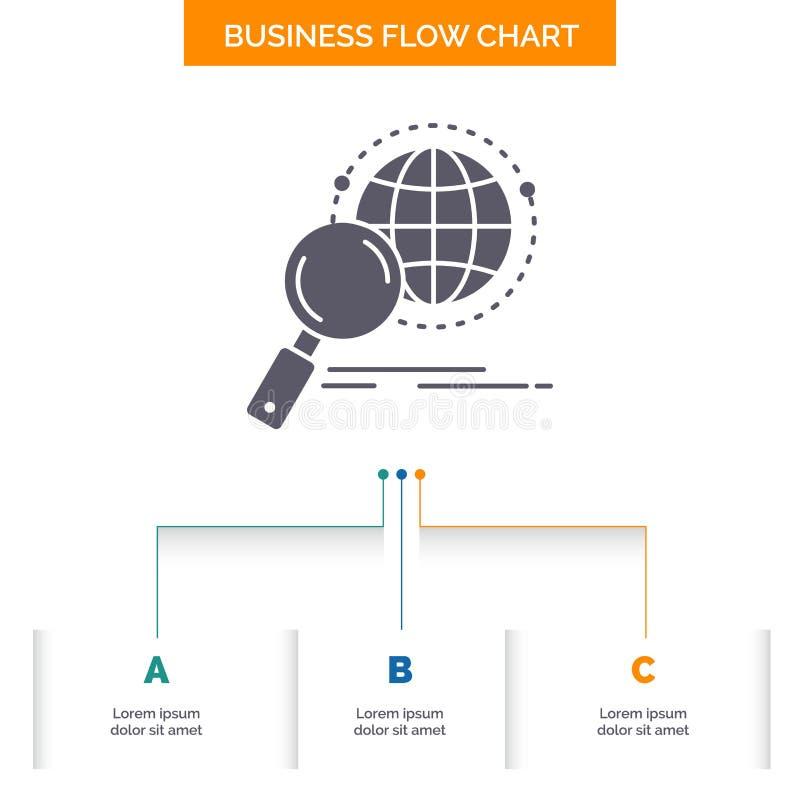全球性,地球,放大器,研究,国际商业与3步的流程图设计 r 库存例证