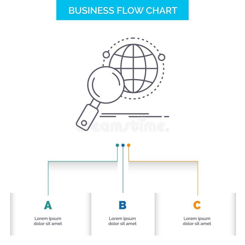 全球性,地球,放大器,研究,国际商业与3步的流程图设计 r 皇族释放例证