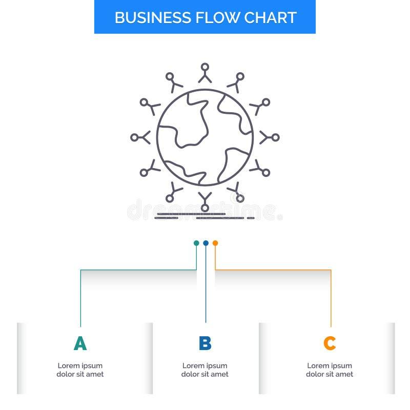 全球性,学生,网络,地球,孩子企业与3步的流程图设计 r 皇族释放例证