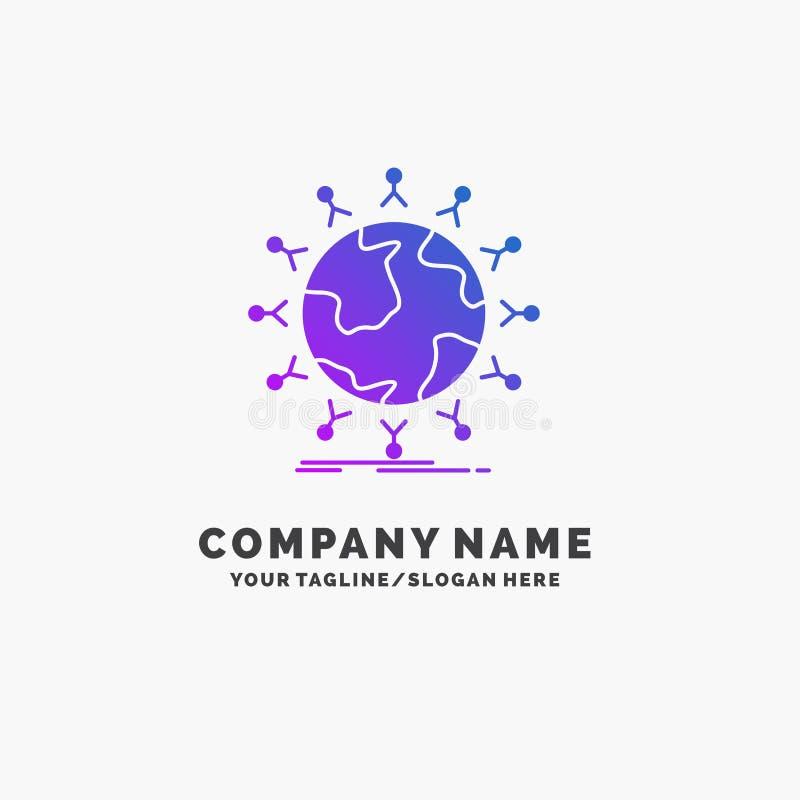 全球性,学生,网络,地球,孩子紫色企业商标模板 r 库存例证