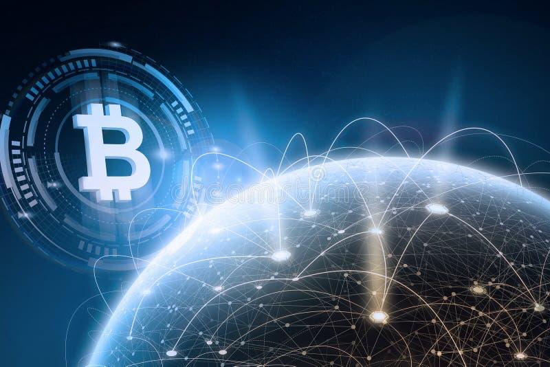 全球性blockchain网络概念 3D翻译元素 库存图片