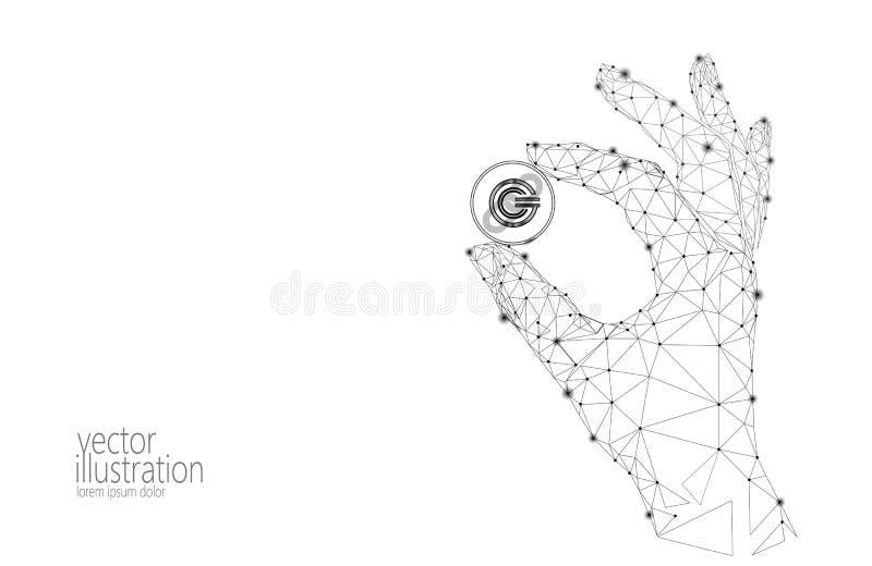 全球性cryptocurrency GCC硬币blockchain链接低多手 多角形几何3d回报点活数字式 皇族释放例证