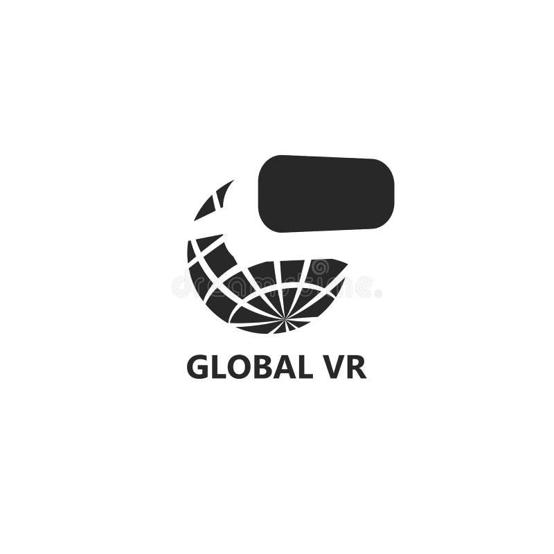 全球性VR商标,与玻璃虚拟现实概念,现代存在作用技术象的行星地球 库存例证
