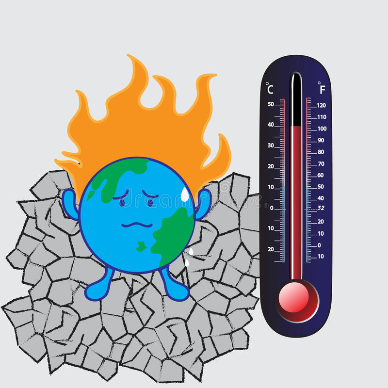 全球温度计温暖 库存例证