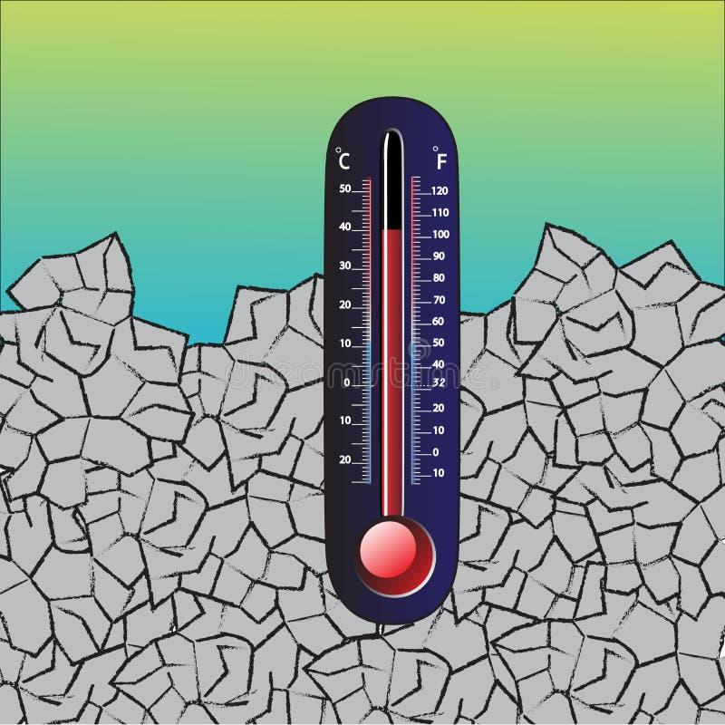 全球温度计温暖 皇族释放例证