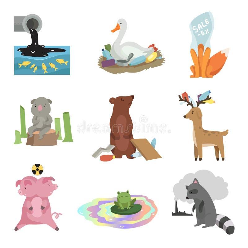 全球环境问题集合,水,地球,砍伐森林,动物的破坏的污染,生态 皇族释放例证