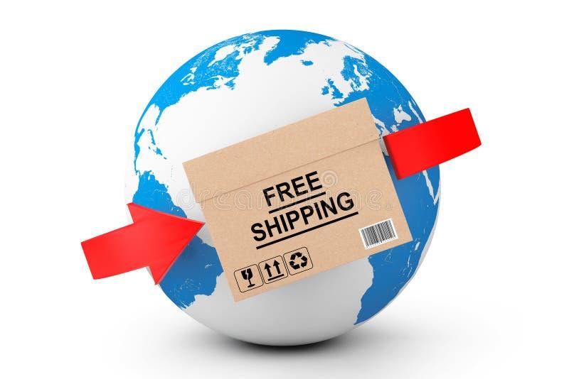 全球的发运 有地球地球的自由运输纸板箱 向量例证