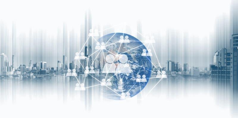 全球网络、社会网络和通讯技术 这个图象的元素由美国航空航天局装备 图库摄影