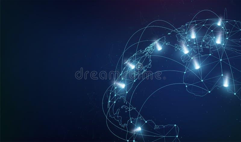 全球网络与小点和轻的闪光的商务联系 世界地图网络通信 库存例证