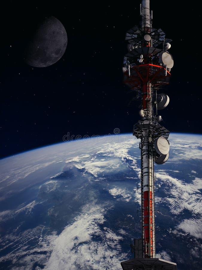 全球网络在空间的通信系统 免版税库存照片