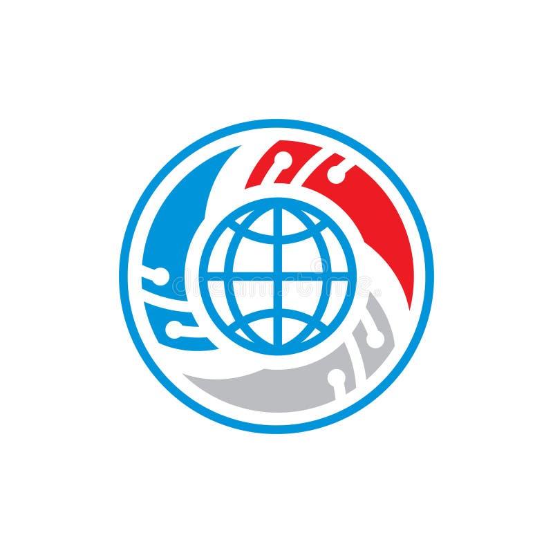 全球网络安全摘要标志 向量例证