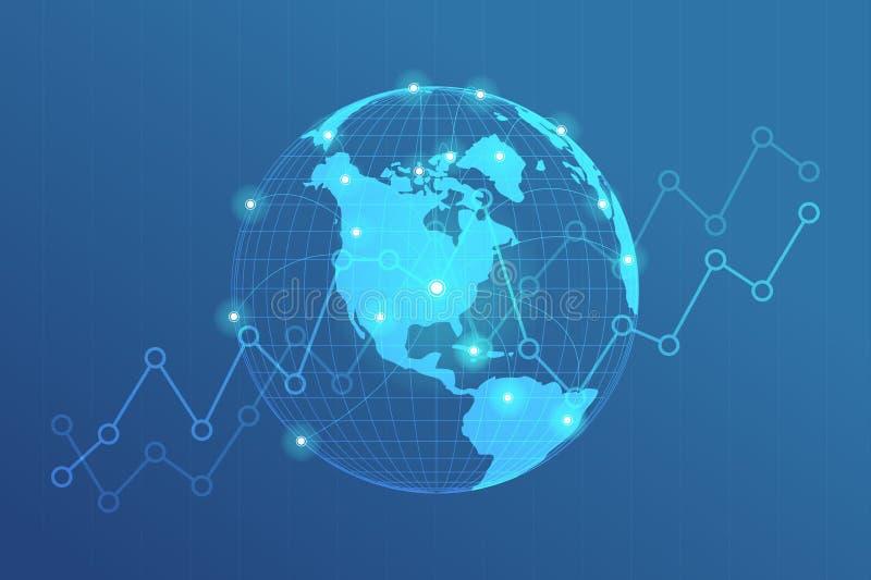 全球网络排行连接 与小点全球企业背景的连接概念的世界地图点 库存例证